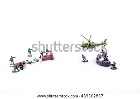 a group of plastic toy soldiers toy isolated on white background
