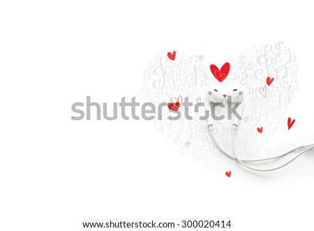 A happy couple in love with music, painted earphone lovely concept, soft focus - stock photo