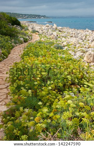a hiking trail around the cap d'antibes in provence france  - stock photo