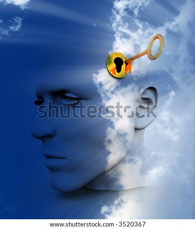 a key unlocking a mans mind, good for images representing imagination,inspiration and intellect. - stock photo