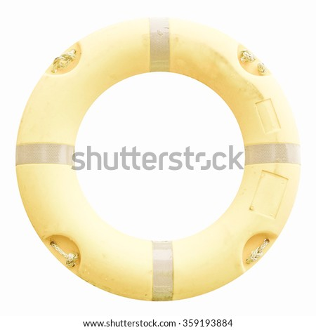 A life buoy for safety at sea - isolated over white background vintage - stock photo