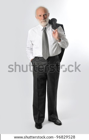 a man holds his jacket - stock photo