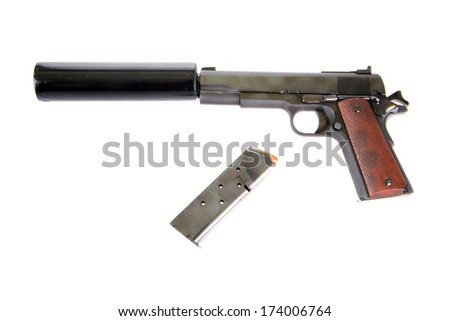 A photo of a Genuine .45 ACP 1911 semi-automatic pistol with a silencer attached, the weapon of choice of a hit man, isolated on white with room for your text.  - stock photo