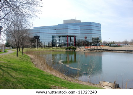A picture of a corporation by the pond