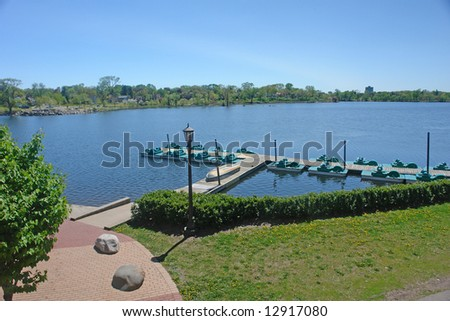 A picture of a smooth lake front in the summer