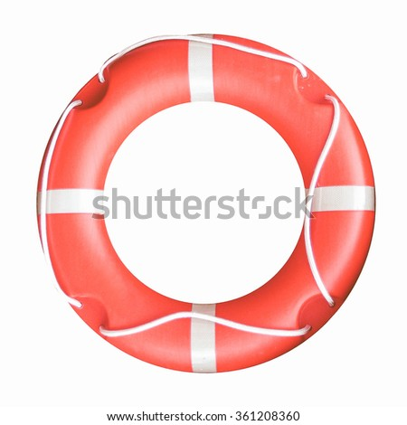 A picture of Isolated orange life buoy vintage - stock photo