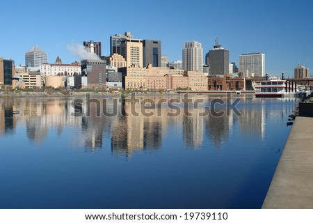 A picture of St. Paul  Minnesota skyline with reflections - stock photo