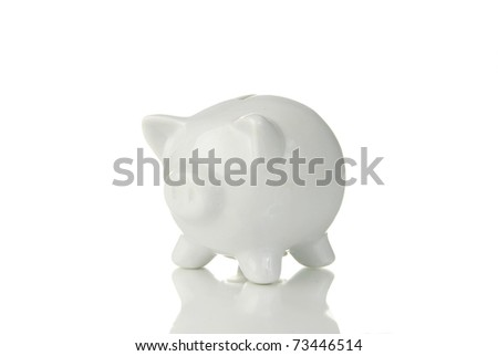 A piggy bank reflecting on a white background - stock photo