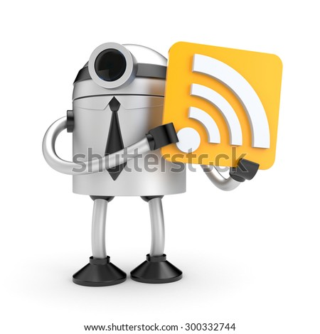 A robot holding a sign with Wi-Fi - stock photo