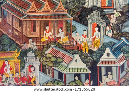 A scene from mural in Wat Pho. Bangkok, Thailand. - stock photo
