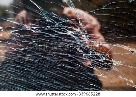 A shattered  windscreen - stock photo