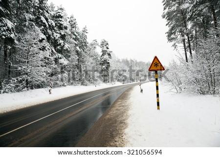 a small road in the winter season. winter. track. - stock photo