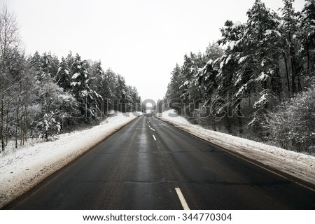a small road in the winter season. winter. track.