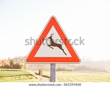 A traffic or a construction site sign vintage - stock photo