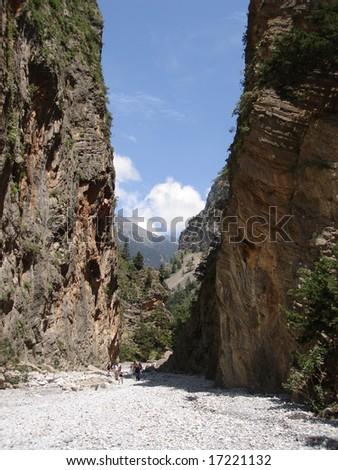 A view of Samaria Gorge, Crete Greece - stock photo