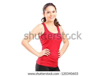 A young athletic girl posing isolated on white background