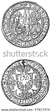 """Aachen penny, 1492 - an illustration to articke """"Coins"""" of the encyclopedia publishers Education, St. Petersburg, Russian Empire, 1896 - stock photo"""