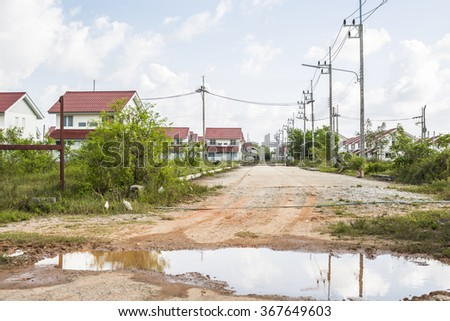 Abandoned New Building site,Risk concept for home buyer