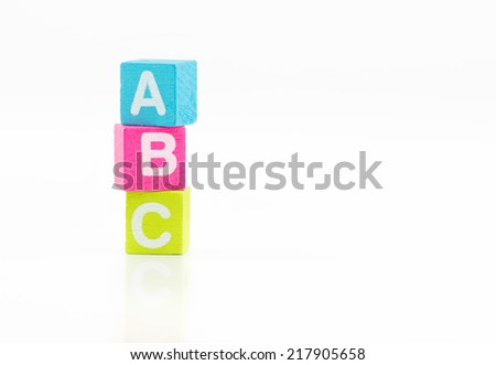 ABC colorful cubes on white background - stock photo