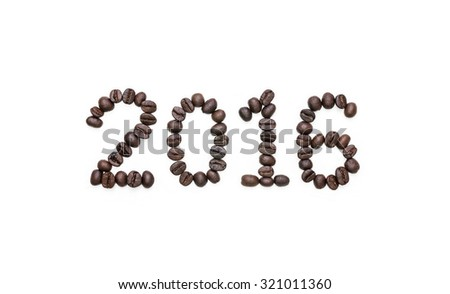 """2016"" - Abstract alphabet number of brown coffee beans isolated on white background. - stock photo"