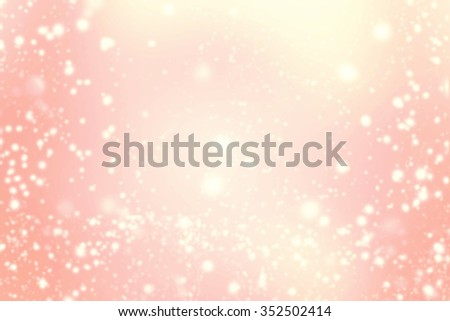 Abstract Background with Christmas Glitter Defocused Bokeh, Blinking Stars and snow flakes. Blurred Soft colored