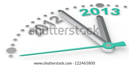 2013. Abstract clock counting down from 2012 to 2013. Emerald Green. - stock photo