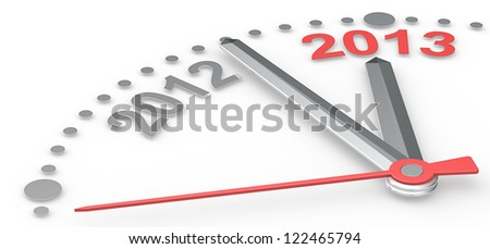 2013. Abstract clock counting down from 2012 to 2013. Red theme color. - stock photo