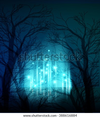 Abstract dramatic night tree. Magic light background. Abstract blue magic light with tree silhouette