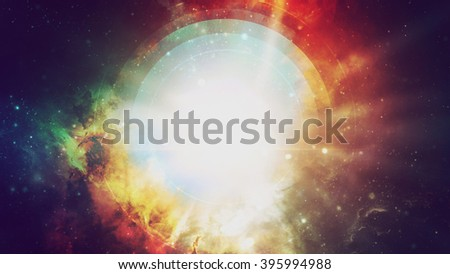 Abstract fiery circle on a black background - stock photo