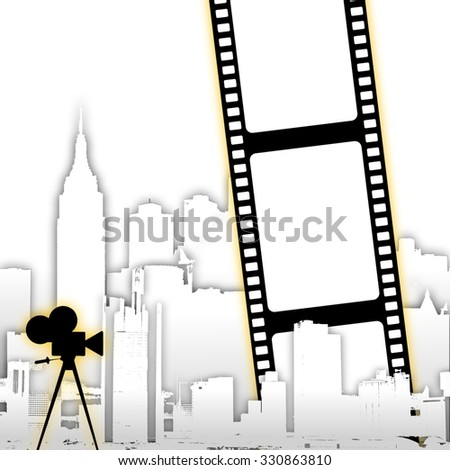 Abstract film strip background with stylized city skyline and old cine camera                    - stock photo