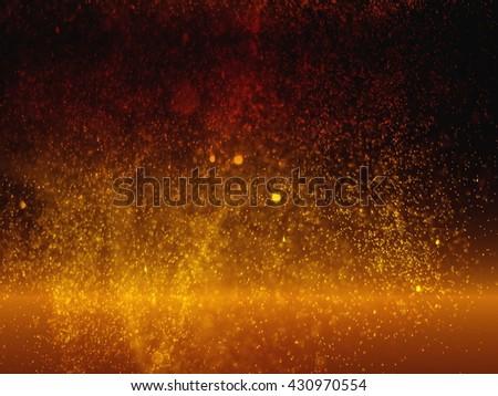 Abstract golden glittering bokeh in dark background. lava splash  (defocused) - stock photo
