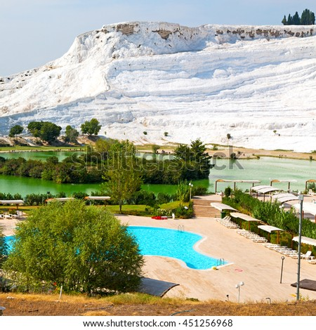 abstract in   pamukkale turkey asia the old calcium bath and travertine water - stock photo