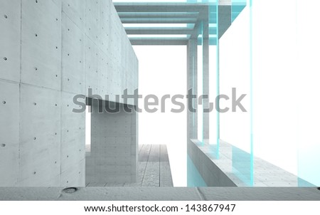 abstract interior with turquoise glass