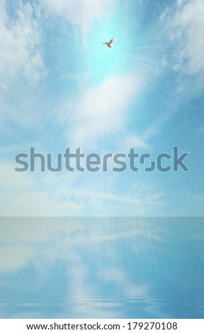 Abstract light beam and holy spirit over blue sea surface - stock photo