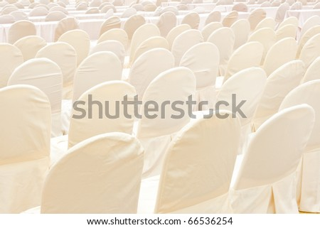 Abstract of white chairs - stock photo
