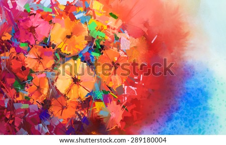 Abstract Oil painting a bouquet of gerbera flowers .Closeup still life of red color flowers with soft red and blue color background. Hand Painted floral Impressionist style. - stock photo