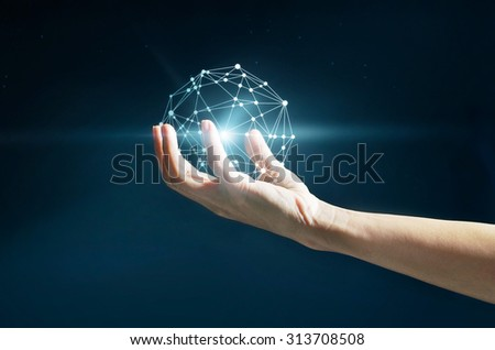 Abstract science, circle global network connection in hand on stars at night background - stock photo