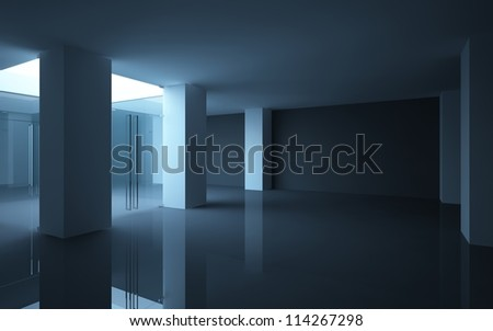 Abstract shop interior with glass doors and a showcase. - stock photo