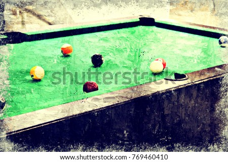 Abstract Snooker Table On Colorful Watercolor Painting Background And  Digital Illustration Brush To Art. Playing