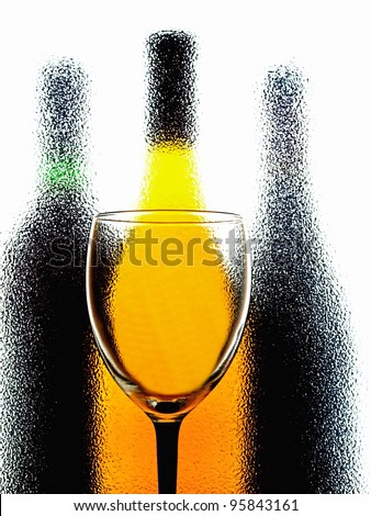 Abstract wine  glassware background design made from a wine glass and bottles .