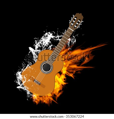 Acoustic Guitar on Fire and Water - stock photo