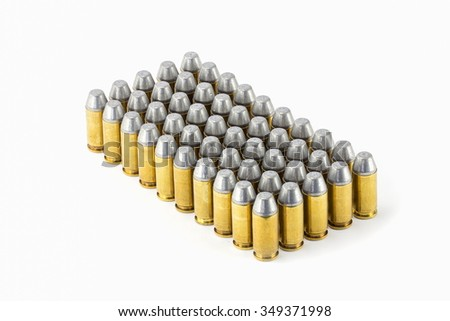 .45 acp semiwadcutter bullet isolated on a white background stack focus