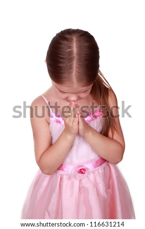 adorable praying girl over white background/girl is praying - stock photo