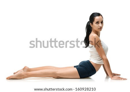adult woman in yoga position isolated - stock photo