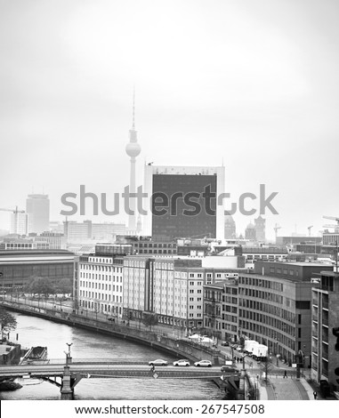 Aerial cityscape of Berlin with main city ladmarks. Germany - stock photo