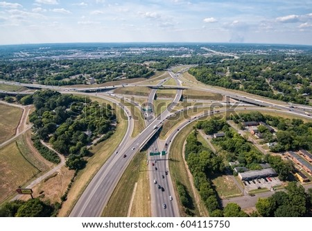 2014 aerial shot of the interstate 65 interstate 20 59 interchange in downtown Birmingham Alabama before the construction in 2017