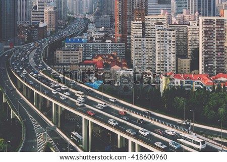 Aerial view of a highway overpass  in Shanghai -  China.  - stock photo