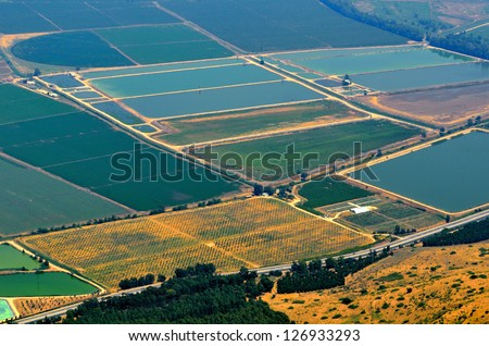 Aerial View of field. Golan Heights, Israel