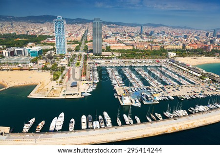 aerial view of  Port Olimpic. Barcelona, Spain - stock photo