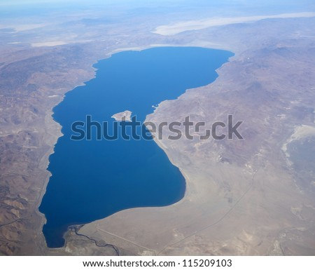 Aerial view of Pyramid Lake in Nevada, USA